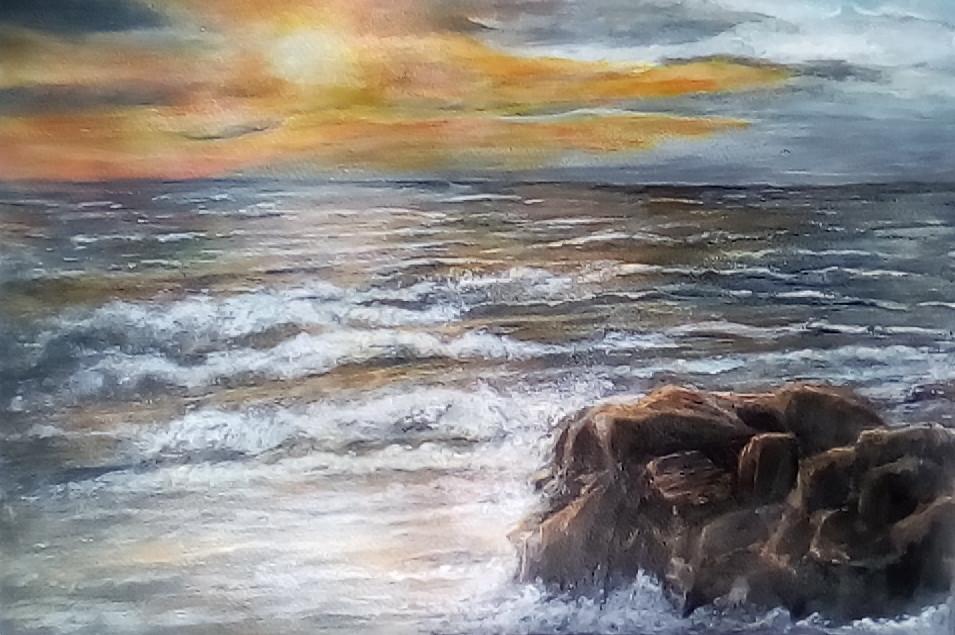 Tina Verpoorten - Coucher de soleil sur la mer